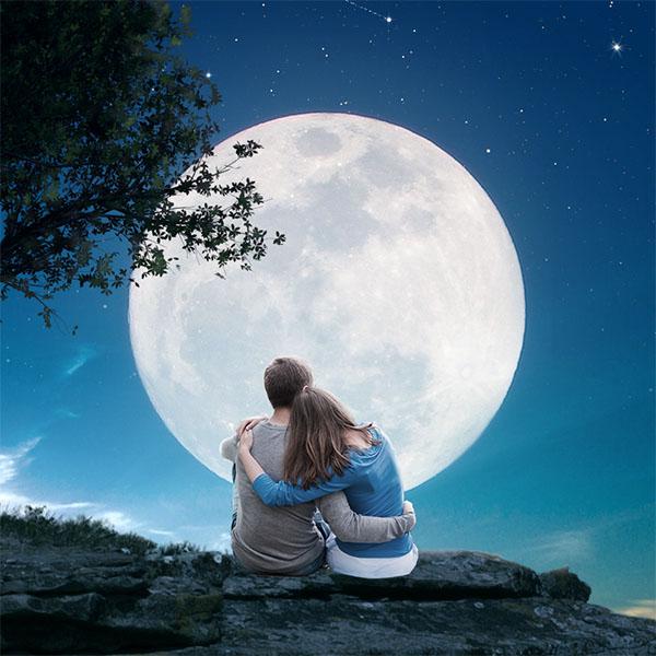 Crea una escena romántica de luna llena en Photoshop CC 2017