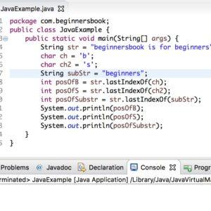 Java String lastIndexOf() Método con ejemplo
