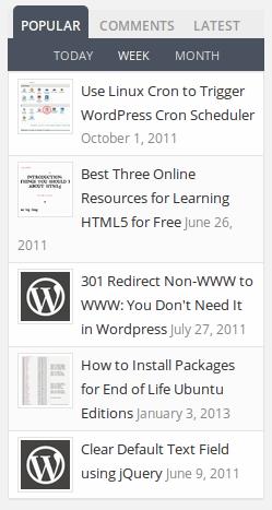 Widgets con pestañas de WordPress para mostrar las publicaciones populares, las publicaciones recientes y las etiquetas en la barra lateral