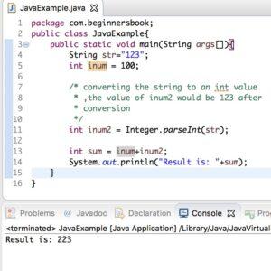 Ejemplos de Conversión de Cadena de Java a int