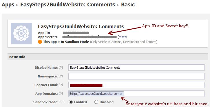 Información de la página web de Facebook App ID para comentarios
