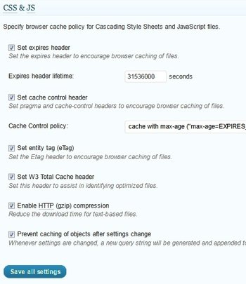configuración de la caché del navegador css js