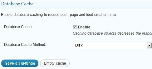 configuración general caché de la base de datos