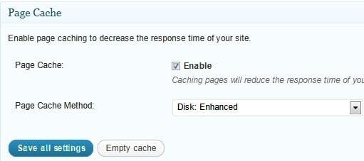 configuración general caché de la página