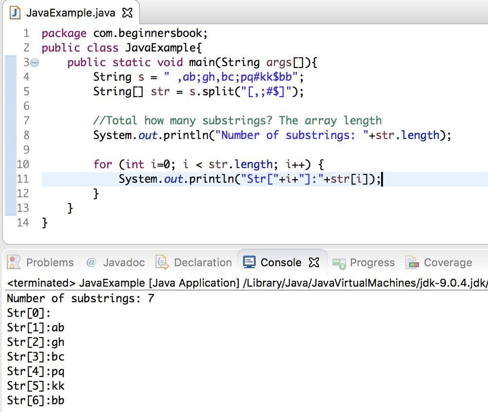 La cadena de Java divide varios caracteres, divide varios caracteres especiales