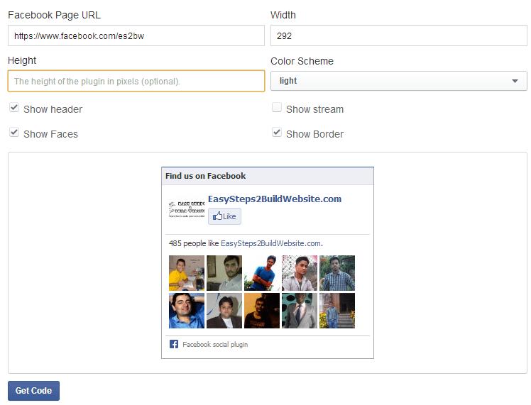 Añadir Facebook Like Box a un sitio web de WordPress - Página de configuración