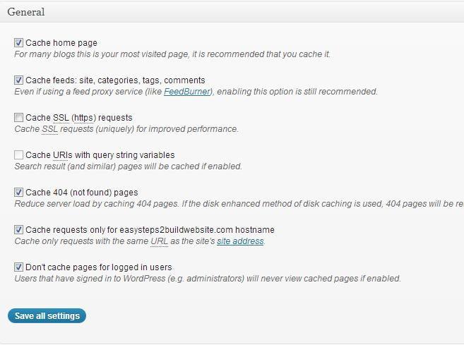 Caché de la página de configuración de la caché total del W3